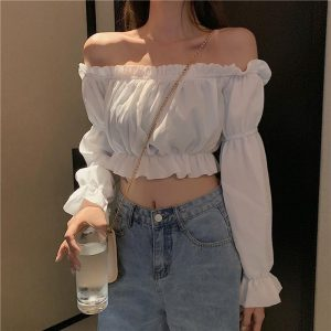 Off Shoulder Crop Top with Long Puff Sleeve 1