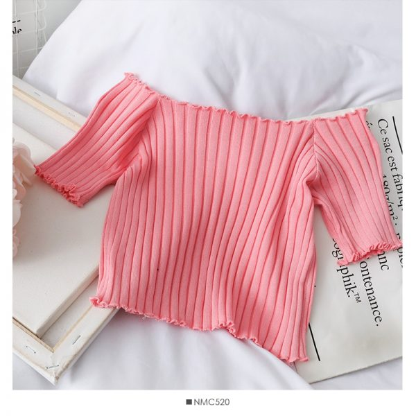Knitting Crop Tops Off Shoulder  9