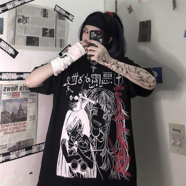 Harajuku T-shirts with Anime cartoon print 4