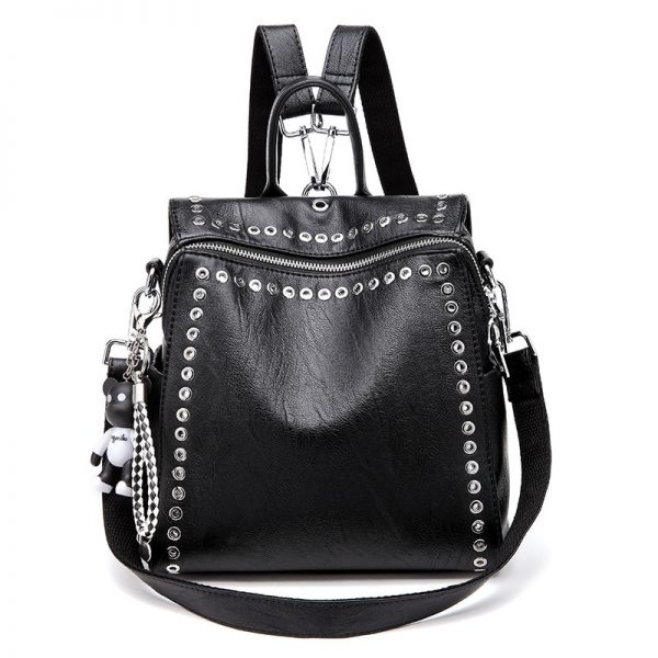 Genuine Leather Backpack with Rivets  2