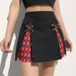 A-Line Gothic Skirt with Plaid inserts 8