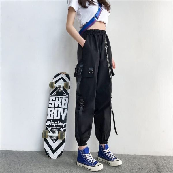 Harajuku Cargo Pants With Chain 4