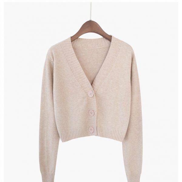 Knitted V neck Crop Cardigan  4