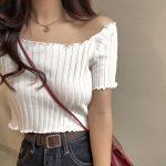 Knitting Crop Tops Off Shoulder  2