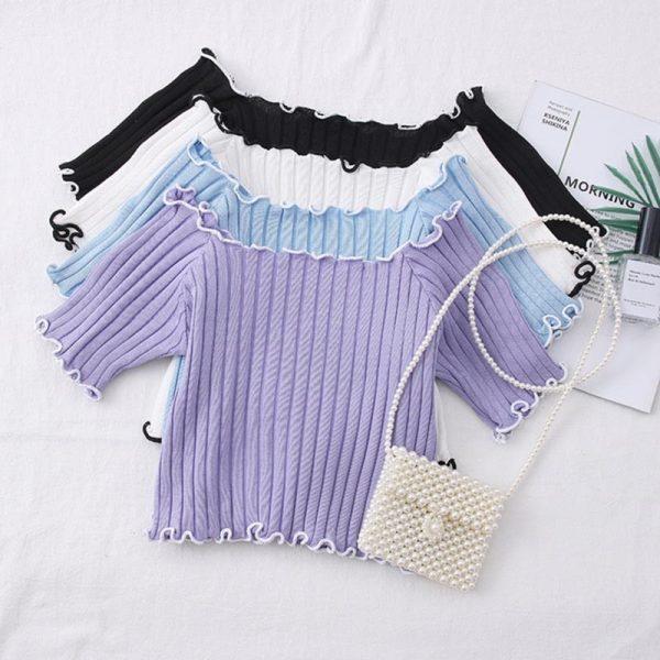Knitting Crop Tops Off Shoulder  3