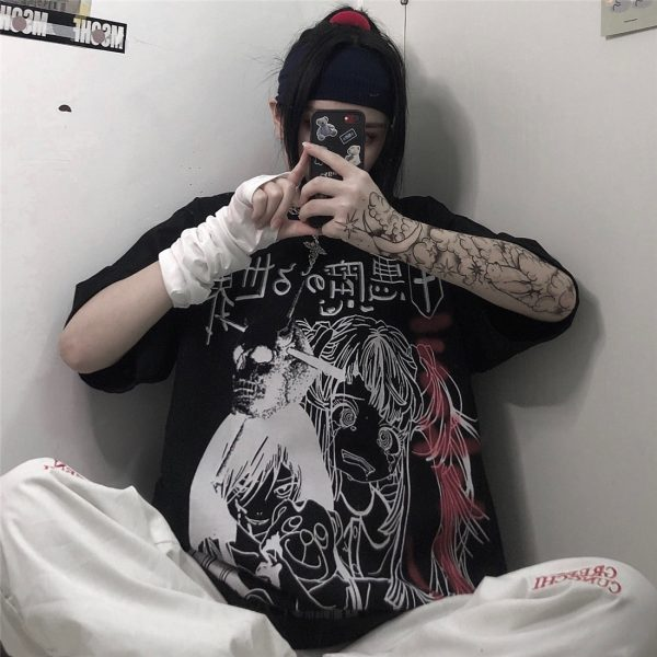 Harajuku T-shirts with Anime cartoon print 2