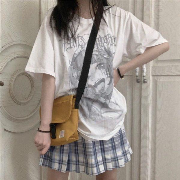 Anime T-shirt with grey cartoon print 3