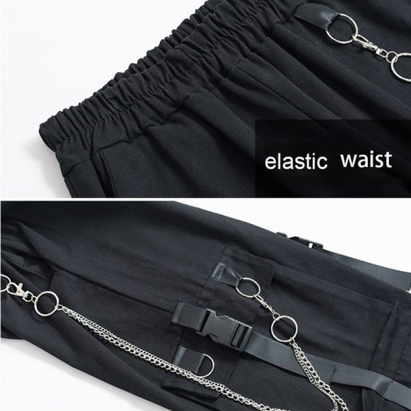 Harajuku Cargo Pants With Chain 6