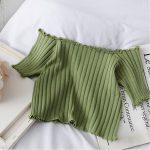 Knitting Crop Tops Off Shoulder  4