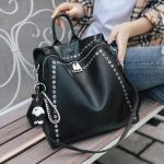 Genuine Leather Backpack with Rivets  5