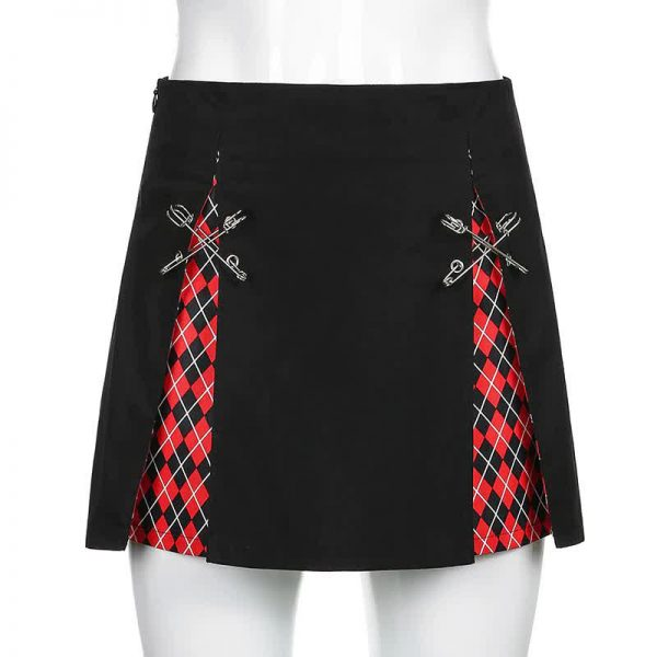 A-Line Gothic Skirt with Plaid inserts 11