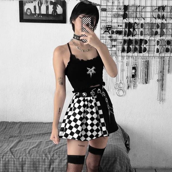 Punk double-sided color Mini Skirt  1