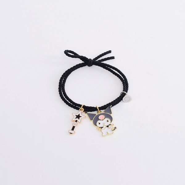 2pcs Set Couple Bracelet with Cute Cartoon Charms Kuromi and My Melody and other 6