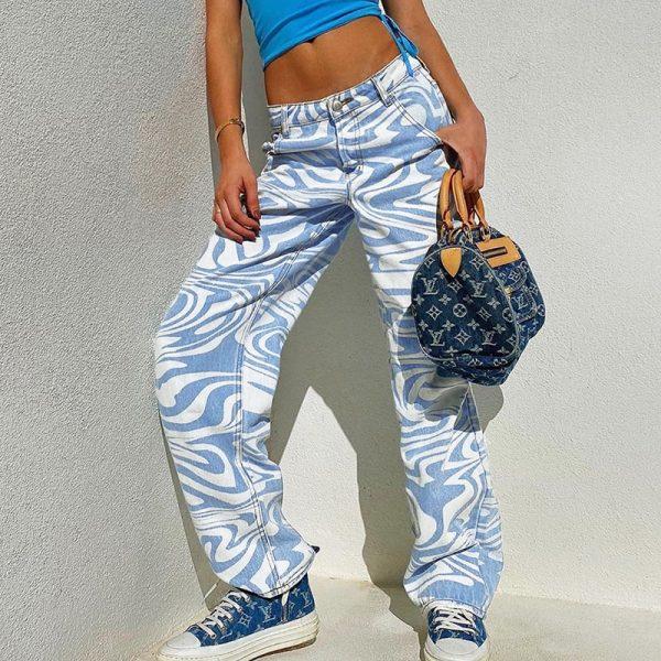 Y2K Zebra Print Straight Pants 26