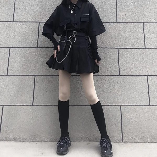 Skirt, shirt or Set black loose shirt and pleated skirt with chain 6