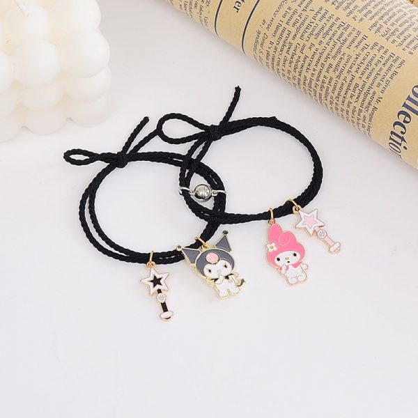 2pcs Set Couple Bracelet with Cute Cartoon Charms Kuromi and My Melody and other 3