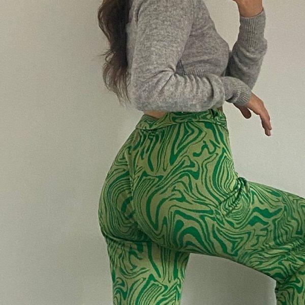 Y2K Zebra Print Straight Pants 45