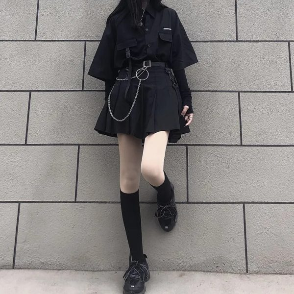 Skirt, shirt or Set black loose shirt and pleated skirt with chain 5