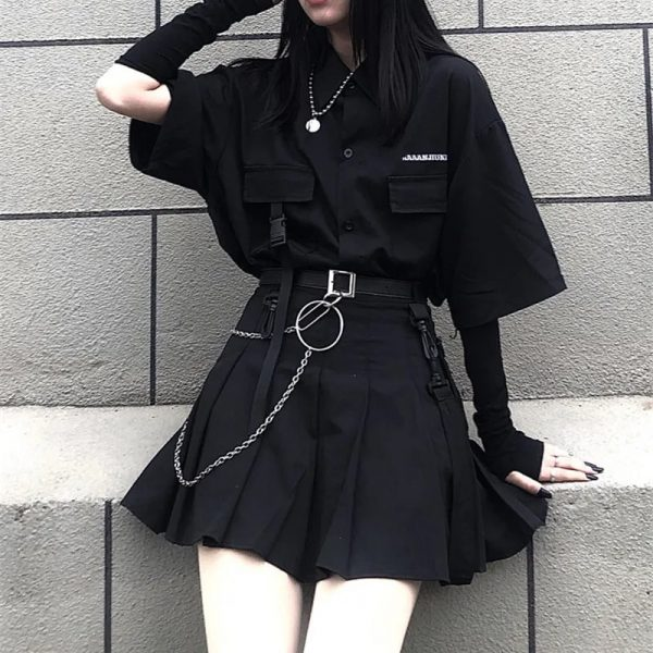 Skirt, shirt or Set black loose shirt and pleated skirt with chain 2