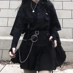 Skirt, shirt or Set black loose shirt and pleated skirt with chain 4