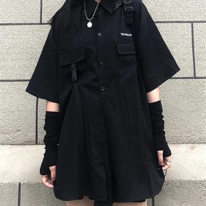 Skirt, shirt or Set black loose shirt and pleated skirt with chain 1