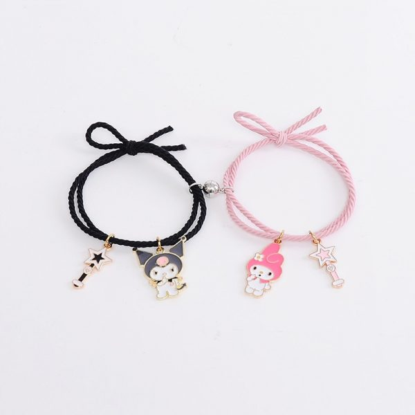 2pcs Set Couple Bracelet with Cute Cartoon Charms Kuromi and My Melody and other 4