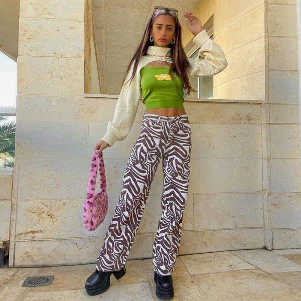 Y2K Zebra Print Straight Pants 4