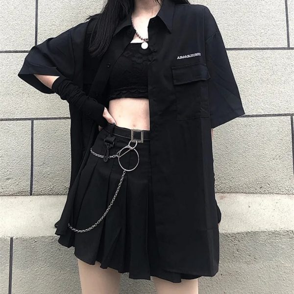 Skirt, shirt or Set black loose shirt and pleated skirt with chain 3