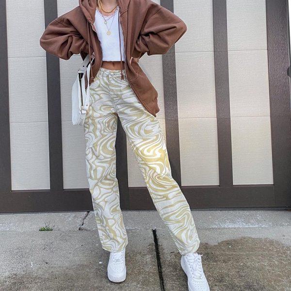 Y2K Zebra Print Straight Pants 3