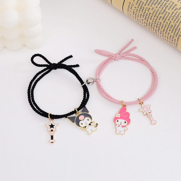 2pcs Set Couple Bracelet with Cute Cartoon Charms Kuromi and My Melody and other 2