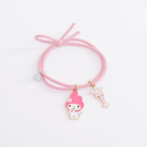 2pcs Set Couple Bracelet with Cute Cartoon Charms Kuromi and My Melody and other 5