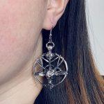 Gothic Pentagram Goat Head Earrings 4