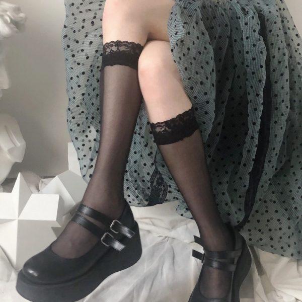 Kawaii transparent high knee socks with lace top 1