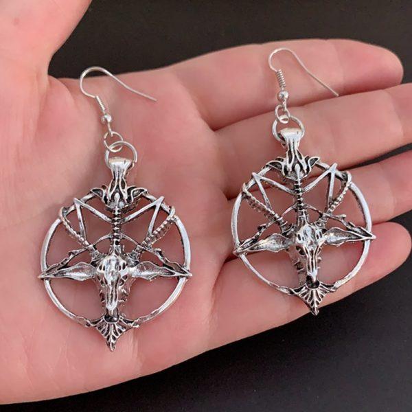 Gothic Pentagram Goat Head Earrings 2