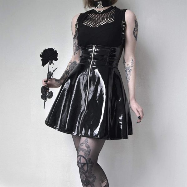 Black Leather Skirt with corset and straps 7
