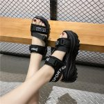 Thick Platform Sandals with Canvas Buckles 12