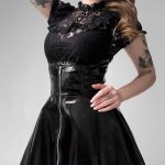 Black Leather Skirt with corset and straps 4