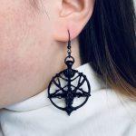 Gothic Pentagram Goat Head Earrings 3