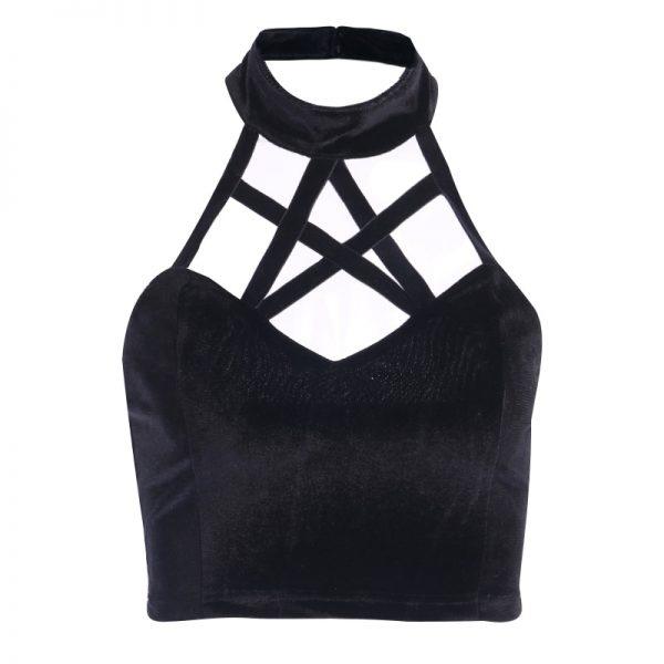 Gothic Crop Top with Pentagram straps 6