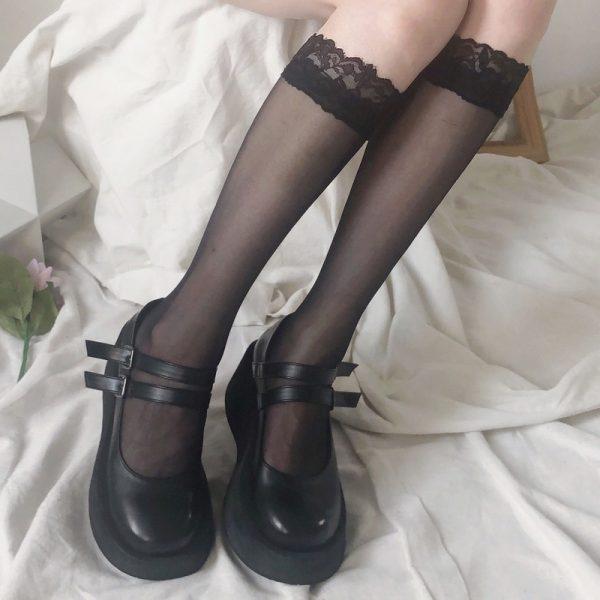 Kawaii transparent high knee socks with lace top 2
