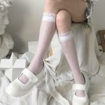 Kawaii transparent high knee socks with lace top 6