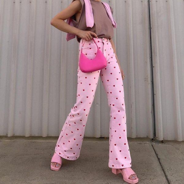 Y2K Pink Heart Printed Pants 2