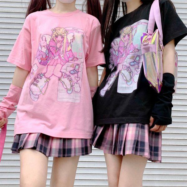 Harajuku Aesthetic Loose T-shirt with Anime print 2
