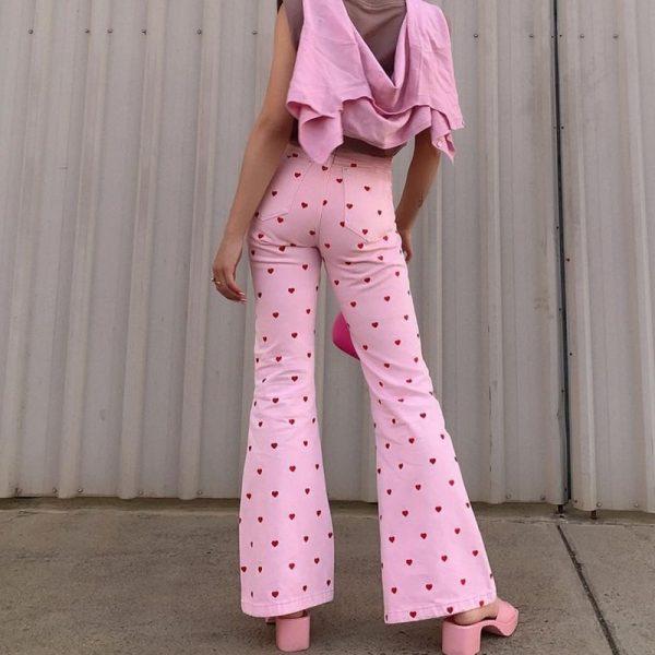Y2K Pink Heart Printed Pants 4