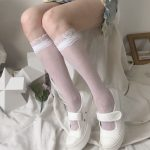 Kawaii transparent high knee socks with lace top 5