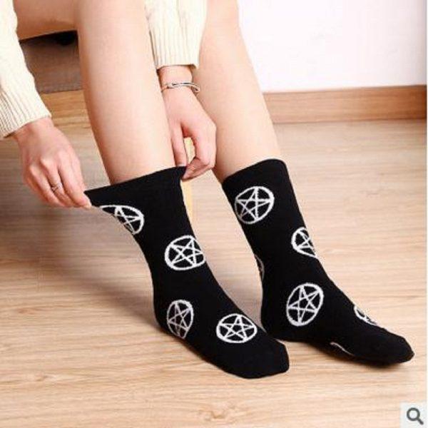 Goth Socks with the pentagram 1