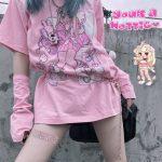 Harajuku Aesthetic Loose T-shirt with Anime print 1