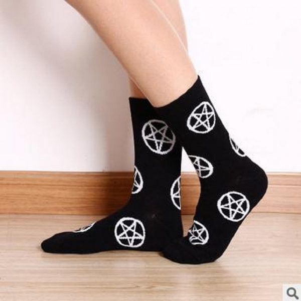 Goth Socks with the pentagram 4