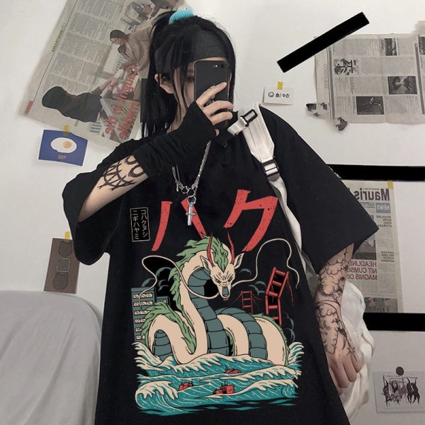 Harajuku T-Shirts with anime prints My Neighbor Totoro and Spirited away  1