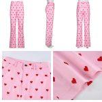 Y2K Pink Heart Printed Pants 5
